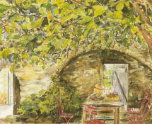 Courtyard in Provence  watercolour 1995 Greeting Card (EGI)